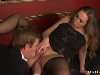 Pretty cougar with a shaved pussy enjoying a hardcore cowgirl style fuck