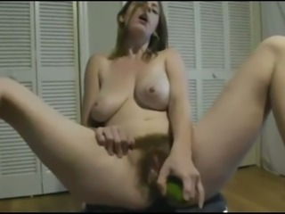 Using enormous cucumber torrid blonde nympho pets her own twat