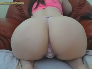 My girlfriend spreads legs wide open and shows off her tight anal hole