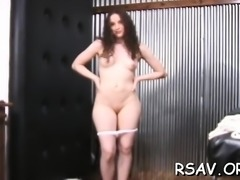Ribald floozy with freshly shaved pussy gets taped peeing