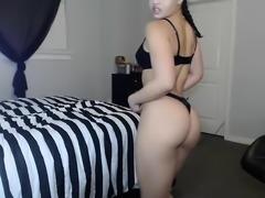 Brunette webcam babe with big booty teasing