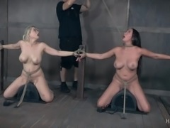 Nyssa and Nadia are tied up, made to straddle those vibrating saddles and...