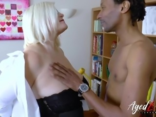 Busty blonde mature got fucked hardcore by huge black cock