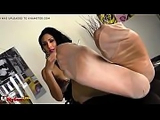 mature woman shows stocking covered soles at dinner party