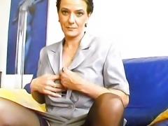 Kinky Pierced Granny Masturbates