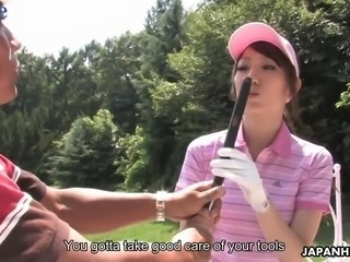 Kawaii golfer Karin Mizuno gives her coach a really nice blowjob