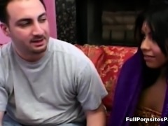 Cute Indian rides white cock