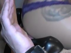 Femdom bitch Mistress Tangent dominates helpless bound male