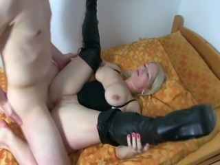 Awesome huge breasted blonde MILF is really awesome cock rider