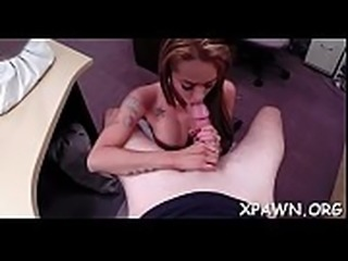Lustful gal has sex in shop