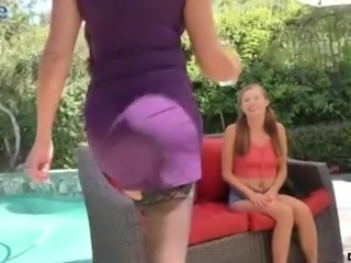 Cute pigtailed fresh gal Carolina Sweets gets teased by aroused neighbor MILF