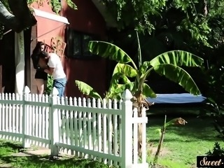 Cute taboo teen fucked outdoors until cumshot
