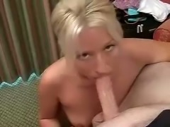 This blonde chick is definitely the best fucking bitch who loves giving head