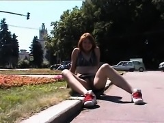 Outdoor masturbation and daring public pussy