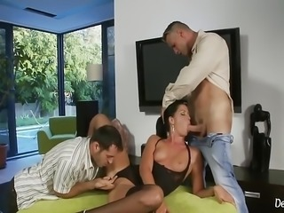 Cock Worshiping Brunette Teen In Hot Threesome Sex