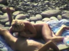 Blowjob and handjob on beach