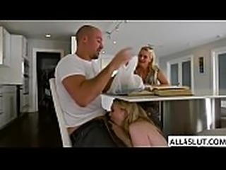 Horny blonde Lily gets banged in the kitchen by Sean Lawless huge cock