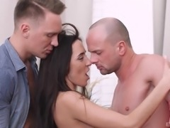 Skinny brunette offers her amazing body to two handsome men