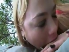 Charming blonde bitch sucks my hard dick with desire