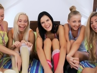 Group teen lesbian sex
