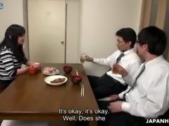 Too tired hubby falls asleep while his colleague fucks his wife Risa Kurokawa