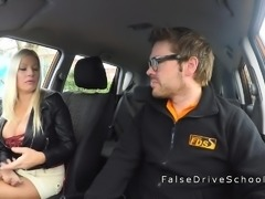 Monster tits driving student fucking