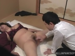 Mature Japanese fattie gets fucked doggy style after sucking a cock