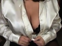 busty sexy in satin blouse