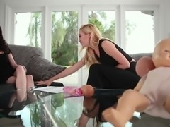 Lyra Law and Lana Adams interrupted by a horny hunk for a threesome