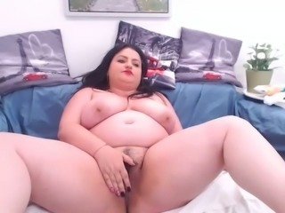 Lusty chunky nympho with enormous tits and huge booty loves to masturbate