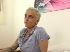 After talking too much busty Mila Milan finally stripteases and shows tits