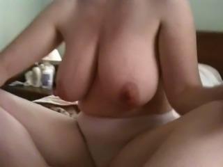Big natural tits and big nipples on amateur young milf