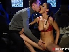 Dick-craving Tina Kay putting a boner in her mouth and pussy