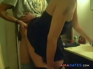 Quick doggy style fuck in bathroom by horny dude