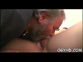 Sweet young hotty licked by pold guy
