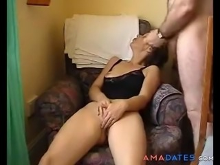 Horny milf rubs her clit, fingers her plump pussy and then gets joined by an old cock.