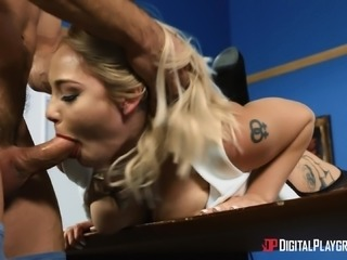 Great office fuck with lovely blonde MILF Hadley Viscara