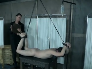 Almost hogtied bald headed and tattooed bitch has to get ready for more BDSM