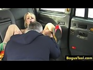 Blonde british babe anal fucked in back of cab
