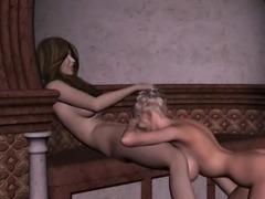 Amazing lesbian couple enjoy sensual time in the gardens