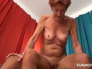 This lewd granny loves couch sex and she loves getting fucked doggy style