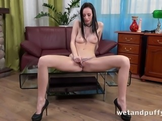 Long haired flexible and lonely black haired amateur babe goes solo for fun