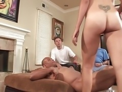 Cuckold watching his wife fucking black dick