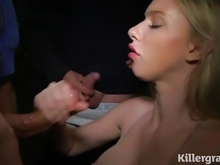 Blonde dogging cumslut gets covered in cum