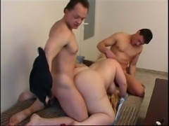 Extremely slutty blonde BBW with giant ass works on two pricks (FMM)