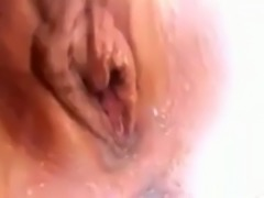 Rubbing the tip against me girlfriend's wet slit in amateur masturbation video