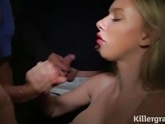 Blonde dogging cumslut gets covered in cum