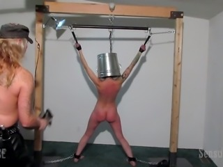 With a bucket on the head and with a bare back, Abigail Dupree feels wonderful and all such entertainments are just in her taste. Master James and his alpha-slave will open to you the doors in a world of exciting and mysterious BDSM pleasures. Join!