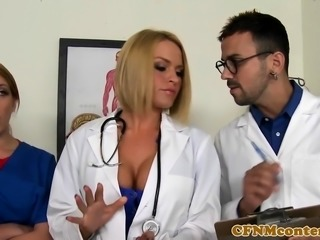 CFNM nurses spanked and fucked in group