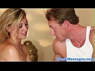 Amateur beauty deepthroating masseurs cock